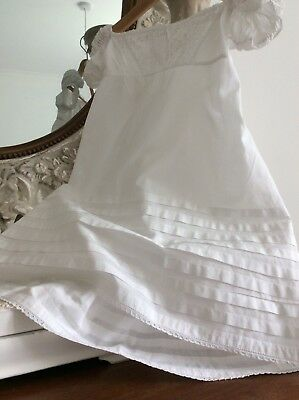 Vintage French Baby Christening Gown ~Lawn Dress~Exquisite Lace & Ruched Sleeves