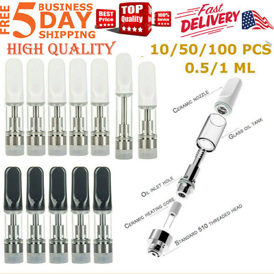 20-100x 0.5/1ML Ceramic Wickless Cartridge Lot Thick Oil Distillate For CCELL