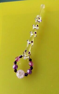 Clear Glass Lace Bobbin with Purple Dots on Shank & Purple Spangles.