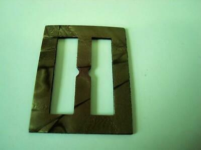 Vintage Pearlized Olive Moonglow Laminated Celluloid Slide Buckle 1 1/2 x 2 In