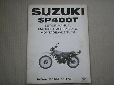 suzuki sp 400 sp400 t sp400t genuine set up manual with wiring diagram used