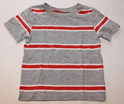 Baby Boy Toddler 2T CIRCO Red Gray White Stiped Shirt Short Sleeve