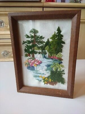 Vintage Sown Framed Wild Flowers/Waterfall Picture