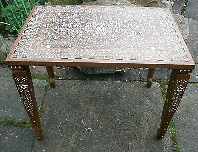 Vintage Anglo/indian Inlaid Wooden Side Table  With Elephant Legs