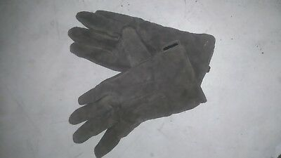 Womens vintage real leather gloves dark beige size10 small W4inch