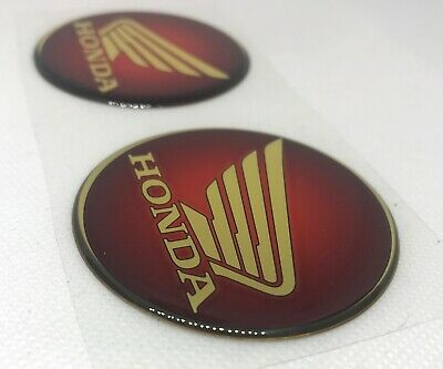 2pcs x Honda (dia 60mm) logo Red/Gold. Domed 3D Stickers/Decals