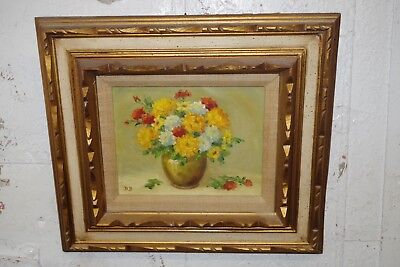 Flowers In Vase Floral Still Life Small Old Painting Signed D B Heavy Frame Art