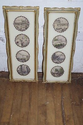 Pair Antique Gesso Picture Frames Victorian Ornate Prints Art