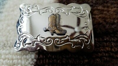 Vintage Western Cowboy Boots with Spurs Silver & Bronze Tone Metal Belt Buckle