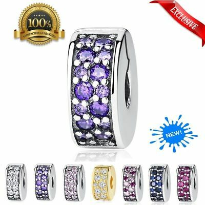 NEW Authentic Silver Clip Lock Spacer Stopper Charm Bead Suits Pandora Bracelet