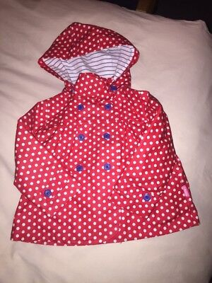Albetta Baby Girls Waterproof Coat Mac Red Spotty Age 1 - 2 LOOK