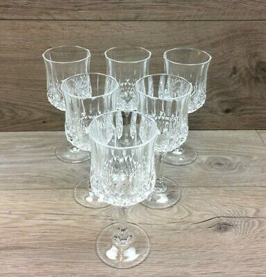Set Of 6 Crystal Glass Goblets/Wine Glasses With Faceted Ball Stem - 162mm Tall