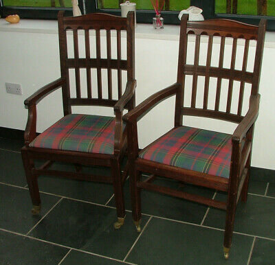 Pair Mahogany Carver / Hall Chairs - Victorian/Edwardian - Tartan Upholstery
