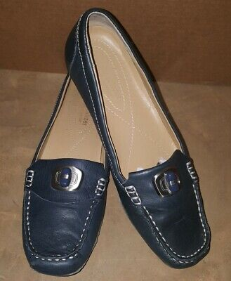 dc3df2a50f6 Etienne Aigner Navy Blue Penny loafers shoes 7N Vintage.