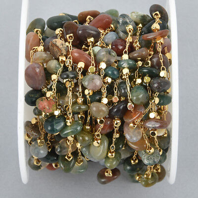 13 feet AGATE Rosary Chain, gold links, gemstone chips beads, fch1060b