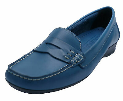 Ladies Cotswold Blue Leather Flat Slip-On Loafers Smart Comfy Moccasin Shoes