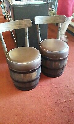 Two Old Hickory Wooden Barrel Seats