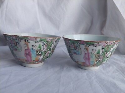 Pair of Figural Rose Canton Chinese Bowl Teacups - Light Damage