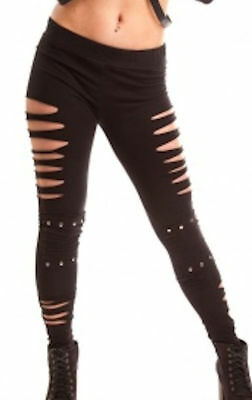 Vixxsin Thrill Slashed Leggings with Stud Detailing - Goth, Punk, Emo - New