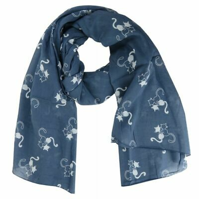 Scarf with Cat Animals Print Cotton Silk Blend Many Colours