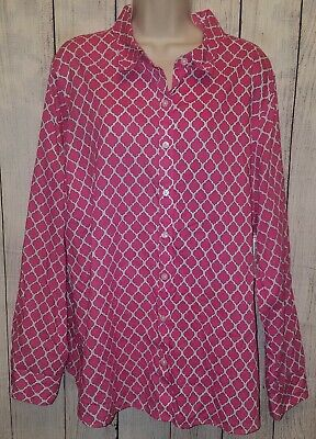 5dc5f89169b934 Womens Crown & Ivy Pink & White Thin Button Top Shirt Size 3X NEW WITH TAGS