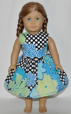 "Black Polk A Dot Floral Dress For 18"" American Girl Doll Clothes"
