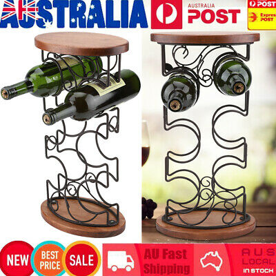 6 Bottles 45cm Metal Wine Rack Storage Cabinet Stand Holder Home Bar Organiser