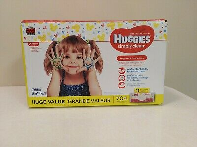 HUGGIES Simply Clean Fragrance-Free Baby Wipes Soft Pack, 704 Count