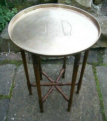 Antique Anglo/Indian Oak   Folding Side Table With  Brass Tray Top