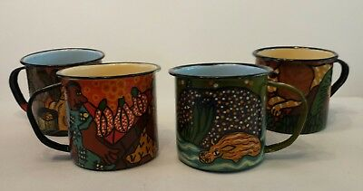 African Folk Art Hand Painted Enamel Mugs  (Set of 4) Artists Signed Zimbabwe