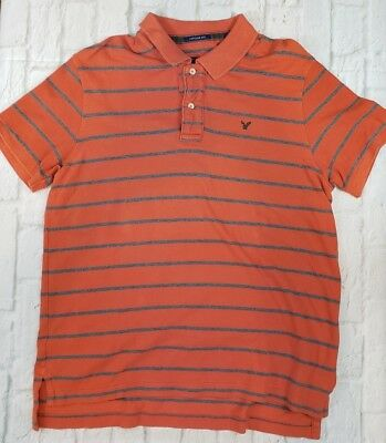 95872f05438 American Eagle Outfitters Men's Eagle Polo Vintage Fit XL Striped  Orange/Gray