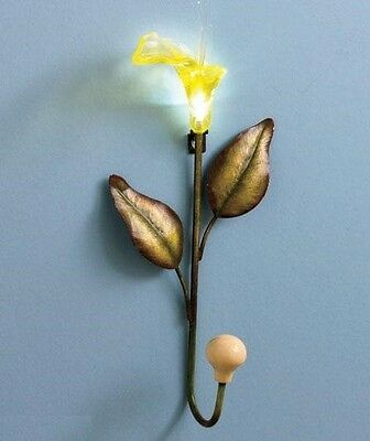 Lighted Yellow Calla Lily Flower Wall Key Coat Bag Hooks Hanger Accent Decor