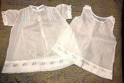 ANTIQUE 2 pc Child's DRESS 1940's White Lawn Cotton baptismal DRESS +slip