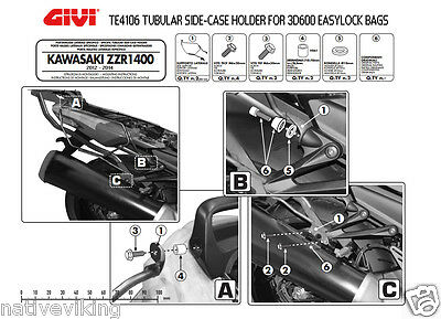 GIVI TE4106 Kawasaki ZZR1400 2013 RACK for 3D600 EASYLOCK side bags IN STOCK new