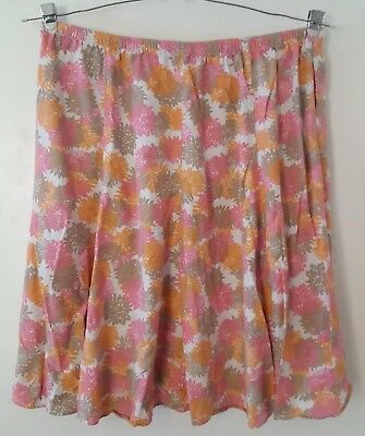 3e58c0151c Woman Within Pink Orange Floral Print Above Knee Linen Skirt Plus Size 2X