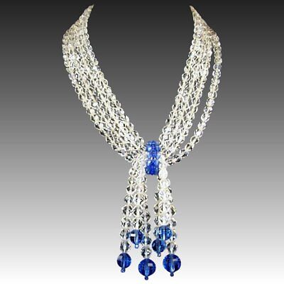 COPPOLA E TOPPO Clear and Royal Blue Glass Crystals Tassel Pendants Necklace