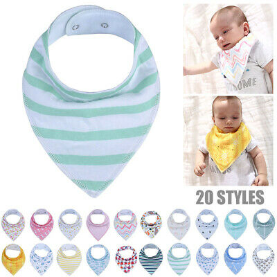 Infant Baby Cute Cartoon Soft Cotton Snap Button Baby Bibs Wipers Saliva Towel