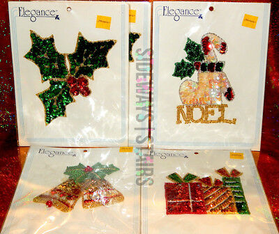 ELEGANCE HOLIDAY APPLIQUÉ LOT tree holly stocking noel gift box Christmas bells