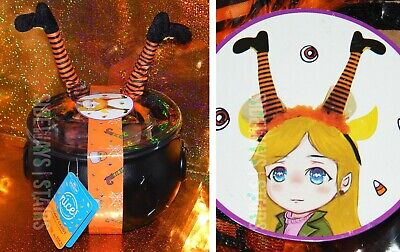 HALLOWEEN CAULDRON W/ WITCH HEADBAND & GUMMY CANDY fingers eyeballs bowl costume