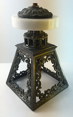 Vintage Cast Metal and Marble Light Fixture Ornate 1966