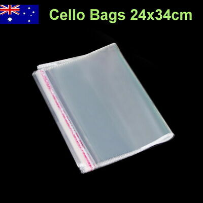 200pcs 24x34cm Medium Cellophane Cello Plastic Gift Clothes Bags Self Adhesive