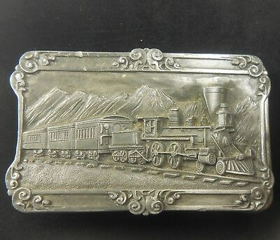 Vintage 1984 4-4-0 Steam Train Locomotive Siskiyou Pewter Belt Buckle Railroad