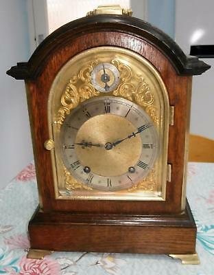 W & H Oak & Brass Eight Day Striking Bracket Clock Serviced & Overhauled
