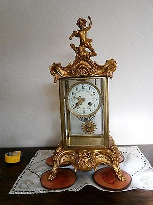 French Four Glass Clock Serviced and Overhauled