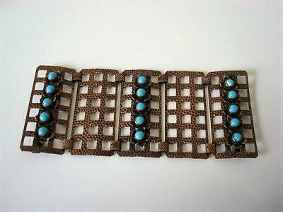 Vintage Metal Buckle With Lattice Links Flowers and Turquoise Glass Stones