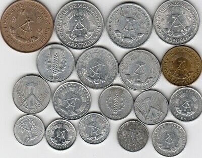 18 different world coins from EAST GERMANY some scarce