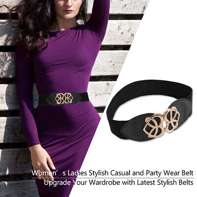 Ladies Stretchable Elastic Waist Belt with Heart Buckle Belt for Party Fashion