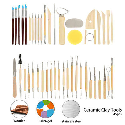 45PCS Pottery Clay Sculpture Sculpting Carving Modelling Ceramic Hobby Tools