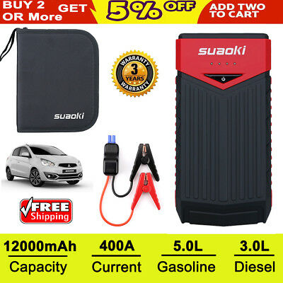 Suaoki 12000mAh Mini Portable Jump Starter Power Bank Auto Car Battery Charger