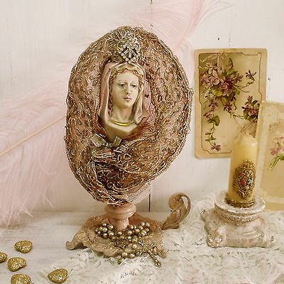 Vintage Virgin Mary Our Lady rhinestones crown rosary embroidered kitsch statue